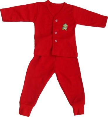 NammaBaby Baby Boy's Solid Red Top & Pyjama Set