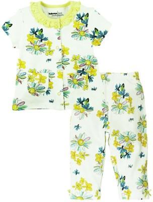 Babyoye Girl's Printed Yellow Top & Pyjama Set