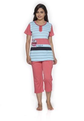 Melodie Women's Printed Blue, Red Top & Pyjama Set