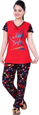 MAHAARANI Women's Printed Red Top & Pyjama Set