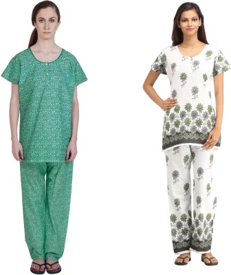 Simrit Women's Printed Green, Green Top & Pyjama Set
