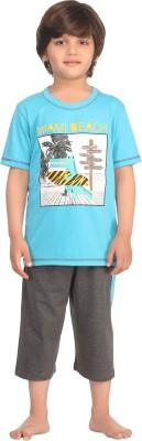 Kanvin Boy's Printed Blue Top & Capri Set