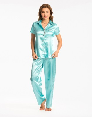 PrettySecrets Women's Solid Blue Top & Pyjama Set