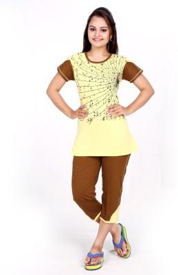 MAHAARANI Women's Printed Yellow Top & Capri Set