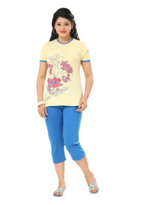 Div Women's Printed Yellow Top & Capri Set