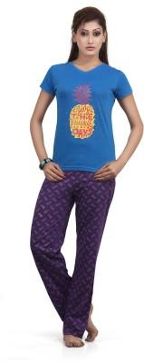 Sunwin Women's Floral Print Blue Top & Pyjama Set