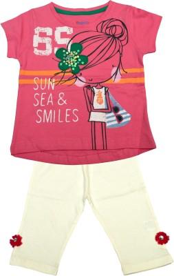 Pepito Baby Girl's Printed Pink Top & Pyjama Set