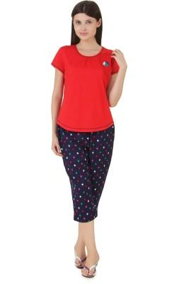 Fragrance Women's Solid Red Top & Capri Set