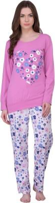 Rose Vanessa Women's Printed Pink, White Top & Pyjama Set at flipkart