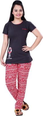 MAHAARANI Women's Printed Grey Top & Pyjama Set