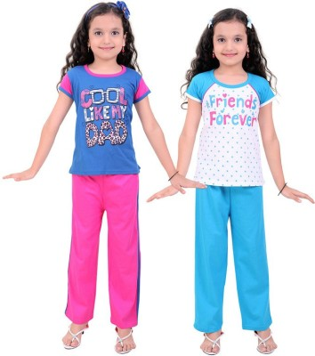 Be 13 Girl's Self Design Multicolor Top & Pyjama Set