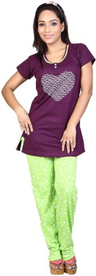 Ruok Women's Printed Purple Top & Pyjama Set