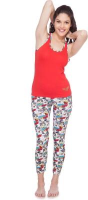 SOIE Women's Printed Red Top & Capri Set