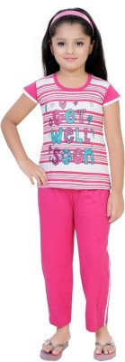 Be 13 Girl's Self Design Pink Top & Pyjama Set