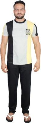 Valentine Men's Solid Multicolor Top & Pyjama Set