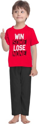 La Dreamz Boy's Solid Red Top & Pyjama Set