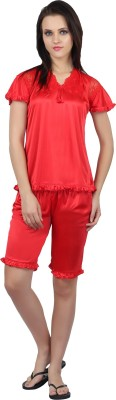 Teleno Women's Solid Red Top & Capri Set