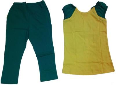 Tomato Girl's Printed Yellow T-shirt & Three-forth Set