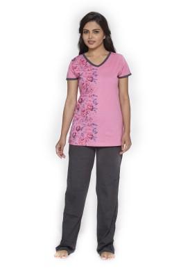 Melodie Women's Floral Print Pink, Black Top & Pyjama Set