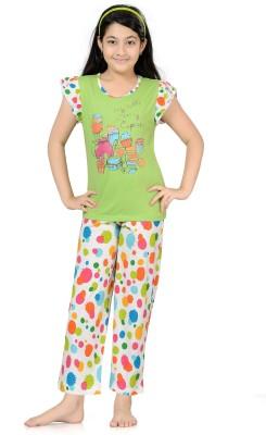 Kombee Girl's Printed Green, White Top & Pyjama Set