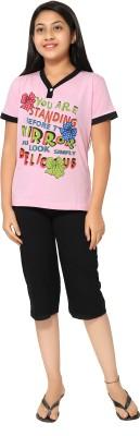 Elite Girl's Printed Pink Top & Capri Set