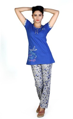 F FASHIONSTYLUS Women's Printed Blue Top & Pyjama Set