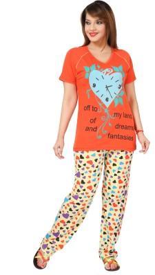 Div Women's Printed Orange Top & Pyjama Set