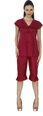 Ignis Women's Solid Maroon Top & Capri Set