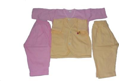 Thakkar Baby Girl's Printed Pink Top & Pyjama Set