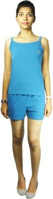 Bluedge Women's Solid Blue Top & Shorts Set
