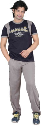 Premium Plus Men's Solid Grey, Light Green Top & Pyjama Set