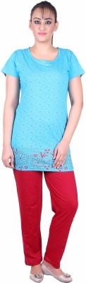 Di Tutti Women's Floral Print Blue Top & Pyjama Set