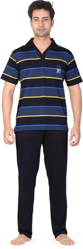 Inter Creation Men's Striped Dark Blue Top & Pyjama Set