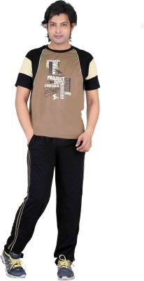 Premium Plus Men's Solid Brown, Black Top & Pyjama Set