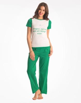 PrettySecrets Women's Polka Print Multicolor Top & Pyjama Set at flipkart