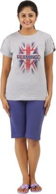 Flamingo Lingerie Women's Printed Grey Top & Shorts Set