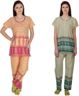 Simrit Women's Printed Pink, Blue Top & Pyjama Set