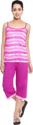 Softwear Women's Printed Pink Top & Capri Set