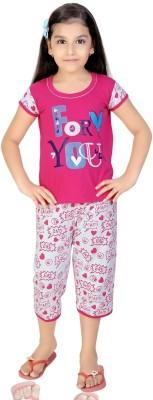 Mint Girl,s Printed Pink, White Top & Capri Set