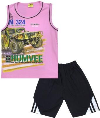 Kid's Care Boy's Printed Pink Top & Shorts Set
