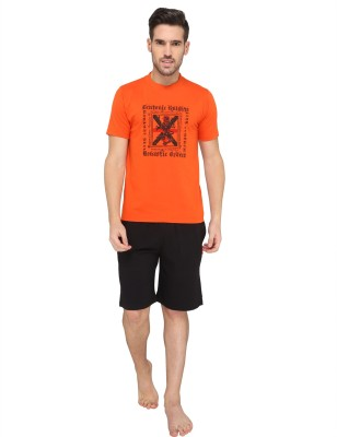 Valentine Men's Printed Orange Top & Shorts Set