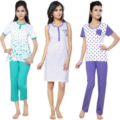 Flamingo Lingerie Women's Printed Green, Purple, White Top, Pyjama & Capri Set