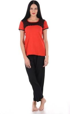 Klamotten Women's Solid Multicolor Top & Pyjama Set at flipkart