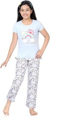 Kombee Girl's Printed Light Blue Top & Pyjama Set