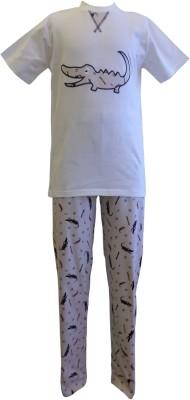 Junior Boxer Boy's Graphic Print Beige Top & Pyjama Set