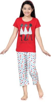 Kombee Girl's Printed Red, White Top & Capri Set