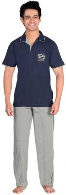 Inter Creation Men's Solid Blue Top & Pyjama Set