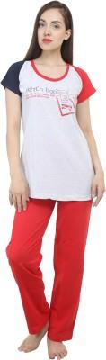 Hautewagon Women's Printed Red Top & Pyjama Set