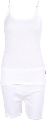 Harsha Avatar Women's Solid White Top & Shorts Set