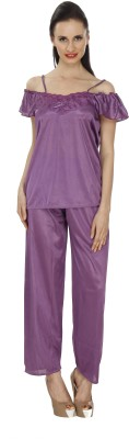 Ignis Women's Solid Purple Top & Pyjama Set